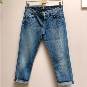 7 for all mankind crop roll skinny jeans 26